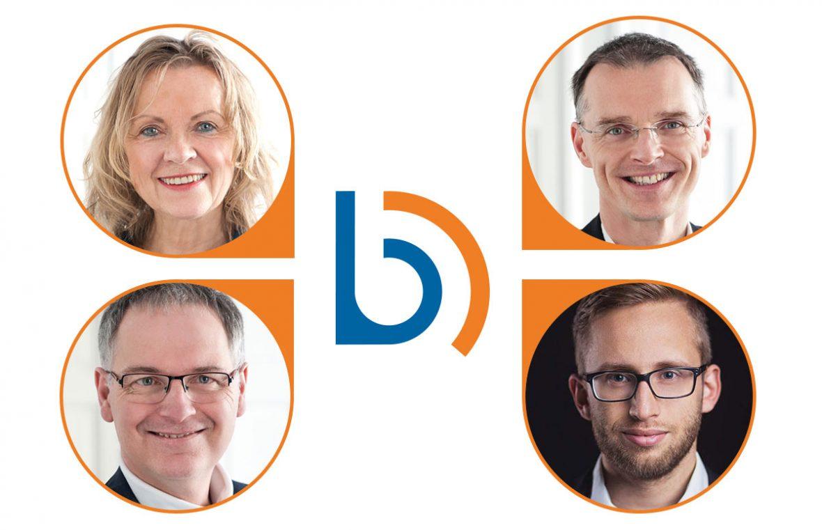 Eine Bildcollage mit vier Portraits (von links nach rechts, von oben nach unten) Elka Eva Baudis, Prof. Dr. Rolf Koerber, Robert Thaller, Johannes Rasch. In der Mitte ist das Logo von Gesellschaft platziert.